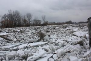 دهانه یخ زده رودخانه تمز